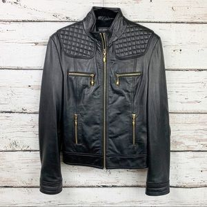 St. John Plush Lined Leather Quilted Moto Jacket